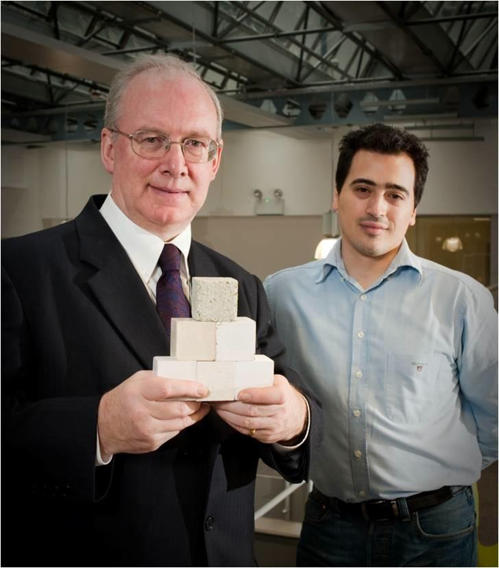 Novacem Chairman Stuart Evans and Chief Scientist Nikolaos Vlasopoulous, with samples of their CO2-absorbing concrete