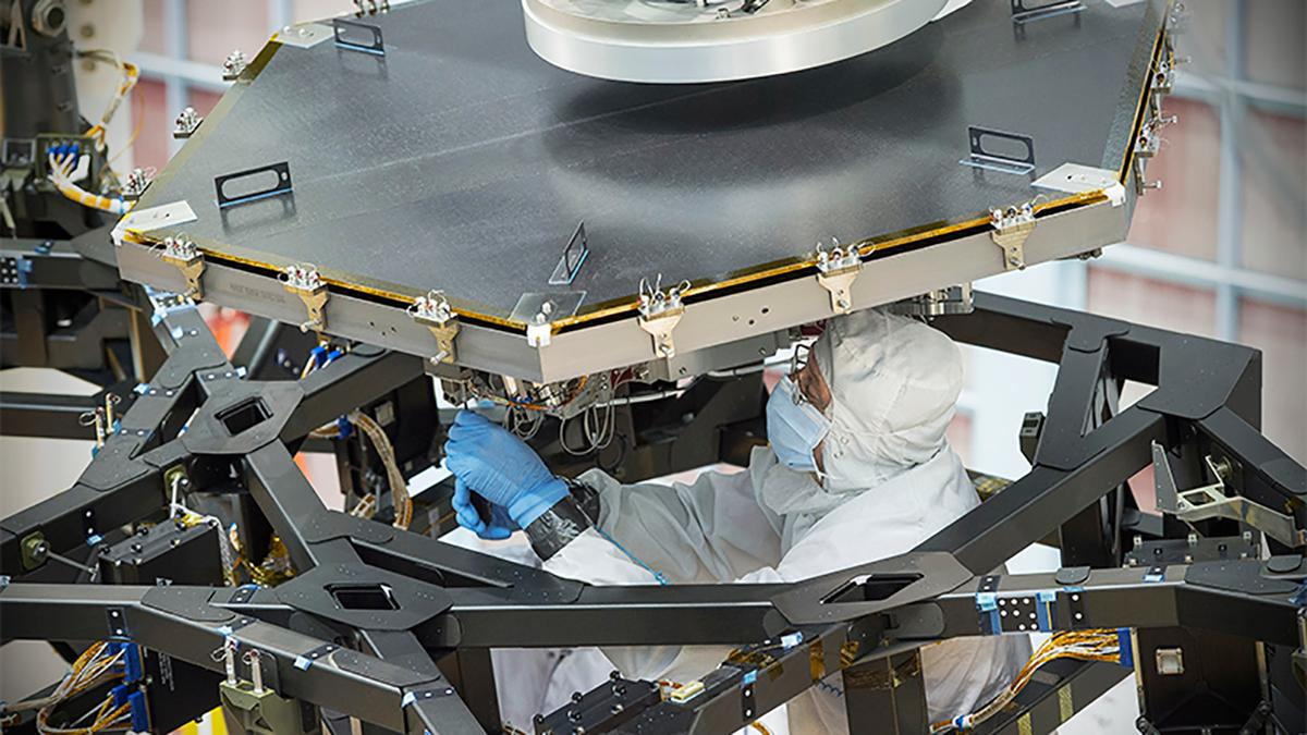 The construction of the James Webb Space Telescope is taking place in a clean room at NASA's Goddard Space Flight Center in Maryland