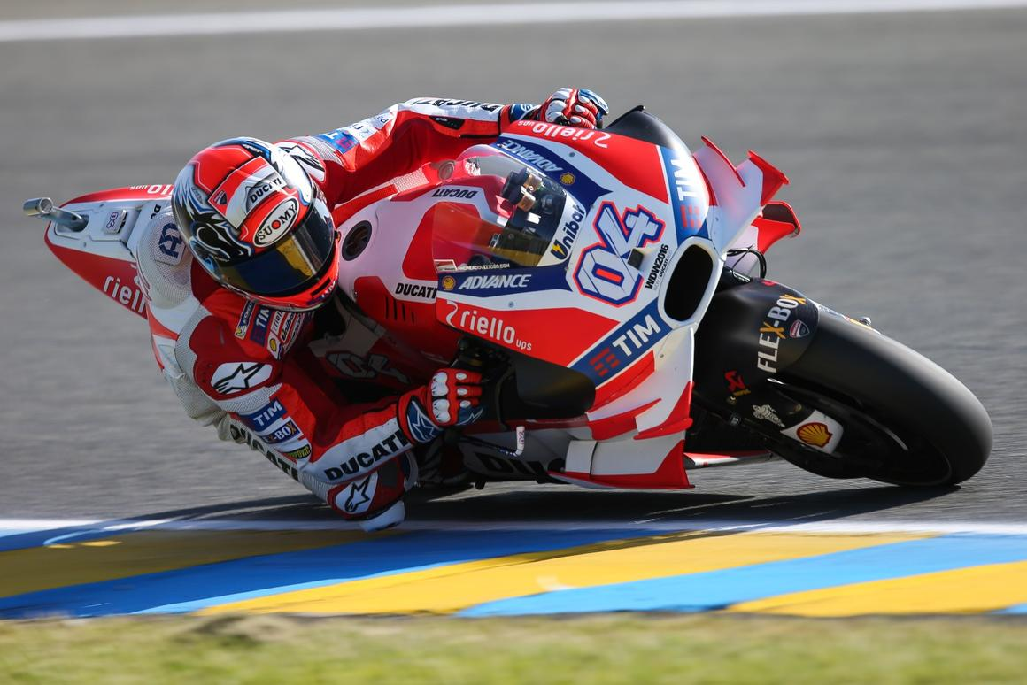 Ducati was the first to invest on aerodynamic wings and employs theme extensively, as seen here on Andrea Dovizioso's Desmosedici