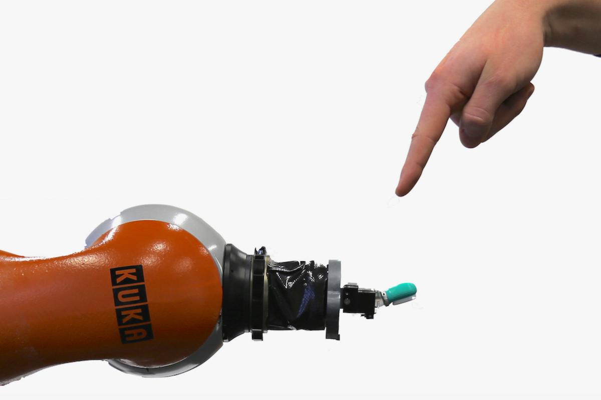 The researchers developed a pain-reflex controller for a BioTac fingertip sensor fitted to a Kuka robotic arm