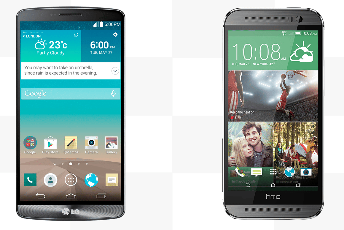 The LG G3 (left) and HTC One (M8) (right) - two Android heavyweights ready to do battle