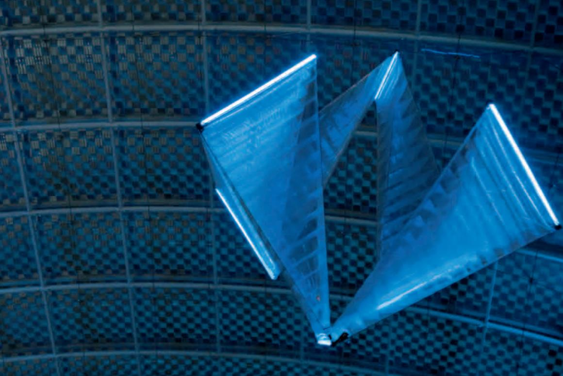 Festo's SmartInversion flying object is filled with helium and uses inversion kinetics to propel itself forwards