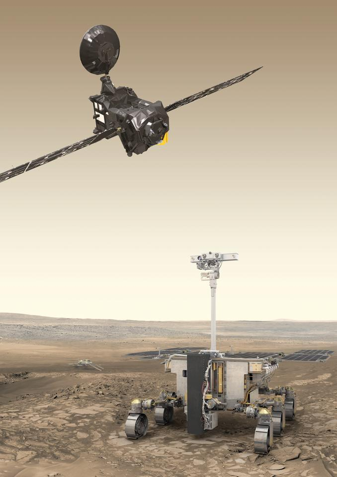 Artist's impression of the ExoMars 2020 rover (foreground), surface science platform (background) and the Trace Gas Orbiter (top)