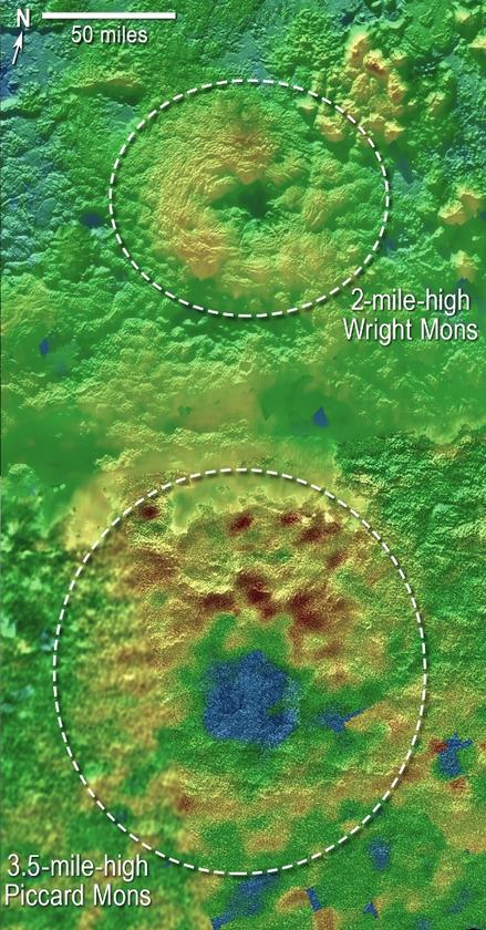 3D topographical map of Pluto's suspected cryovolcanoes – blue indicates recessed terrain, with brown representing higher elevation, and green representing intermediate heights