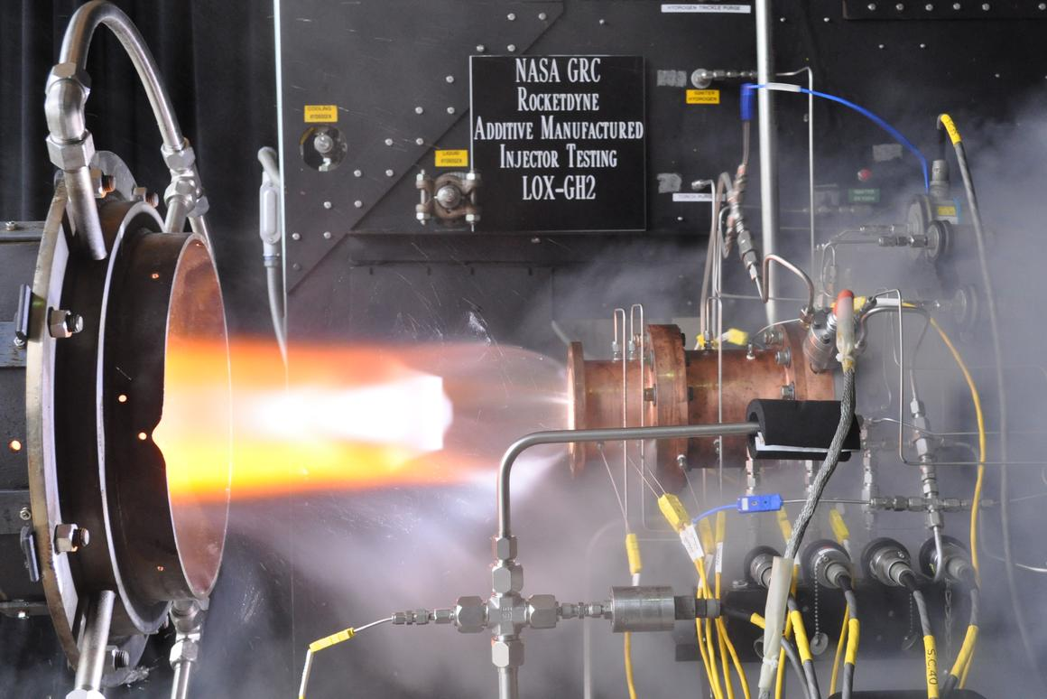 The liquid oxygen/gaseous hydrogen rocket injector assembly, built using additive manufacturing technology