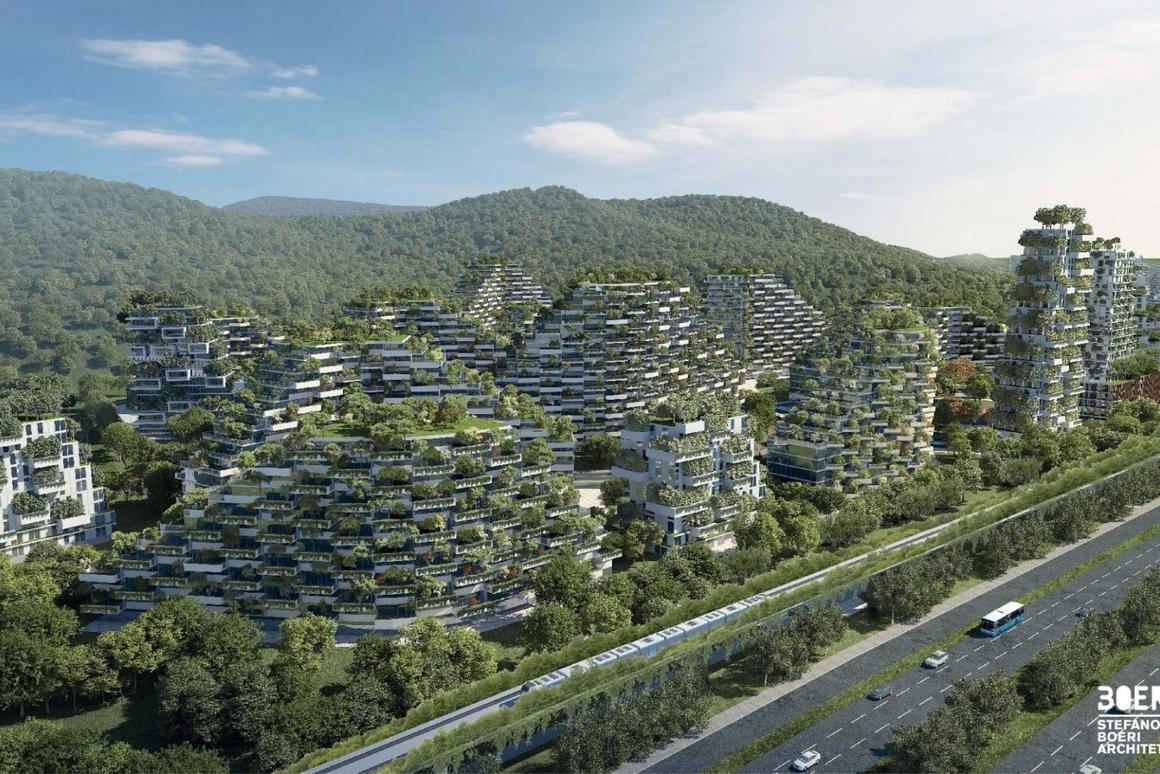 Construction is currently underway onthe Liuzhou Forest City in southern China