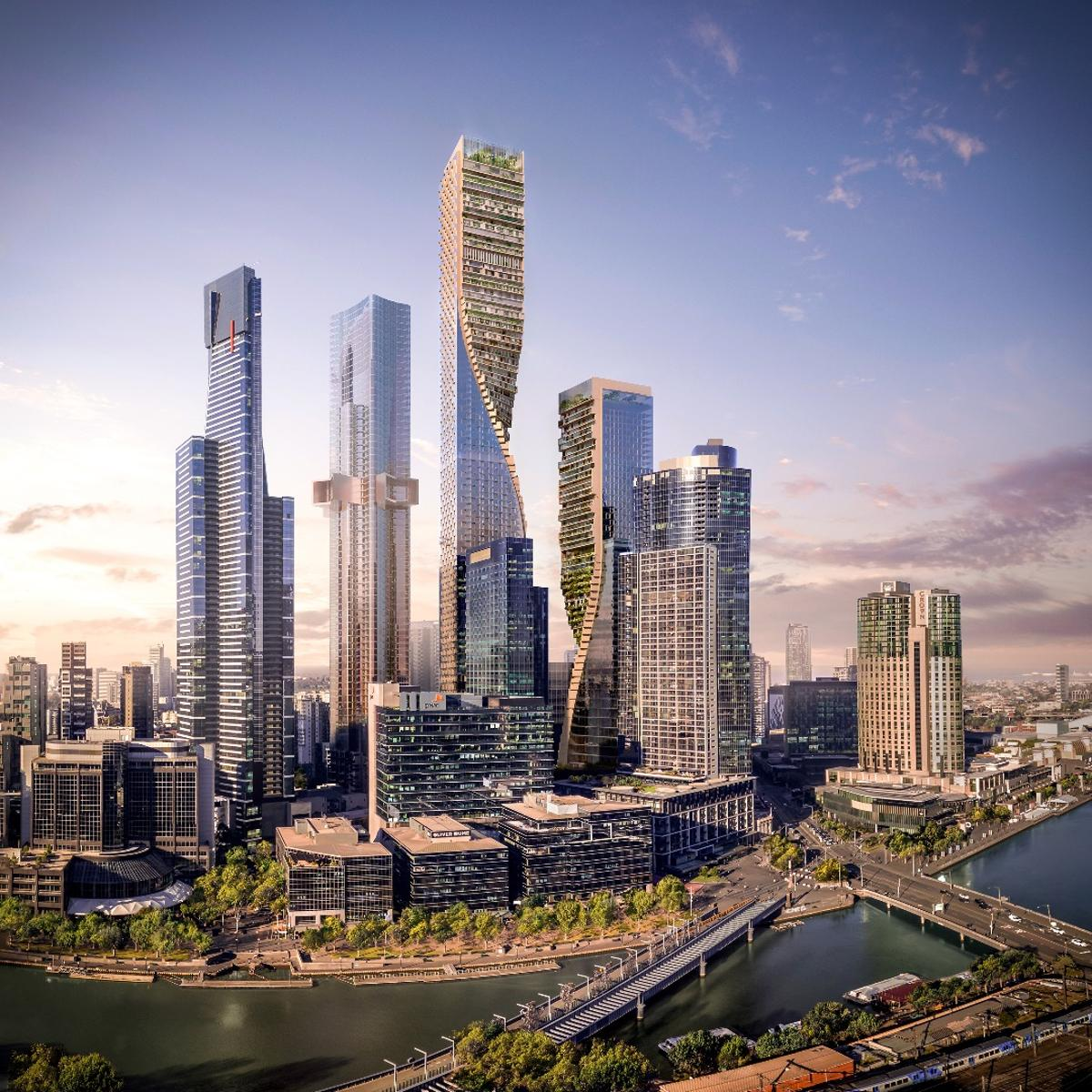 TheGreen Spine'staller buildingwill rise to a height of356.2 m (1,168 ft), while the smaller will be 252.2 m (827 ft)-tall