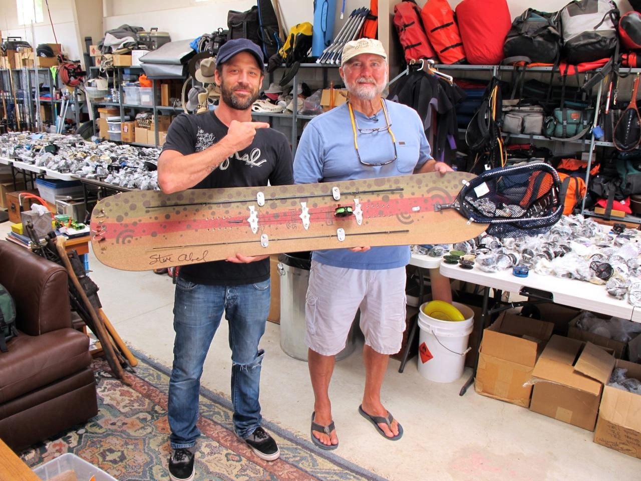 Signal founder Dave Lee and Abel Reels founder Steve Abel pose with the creation