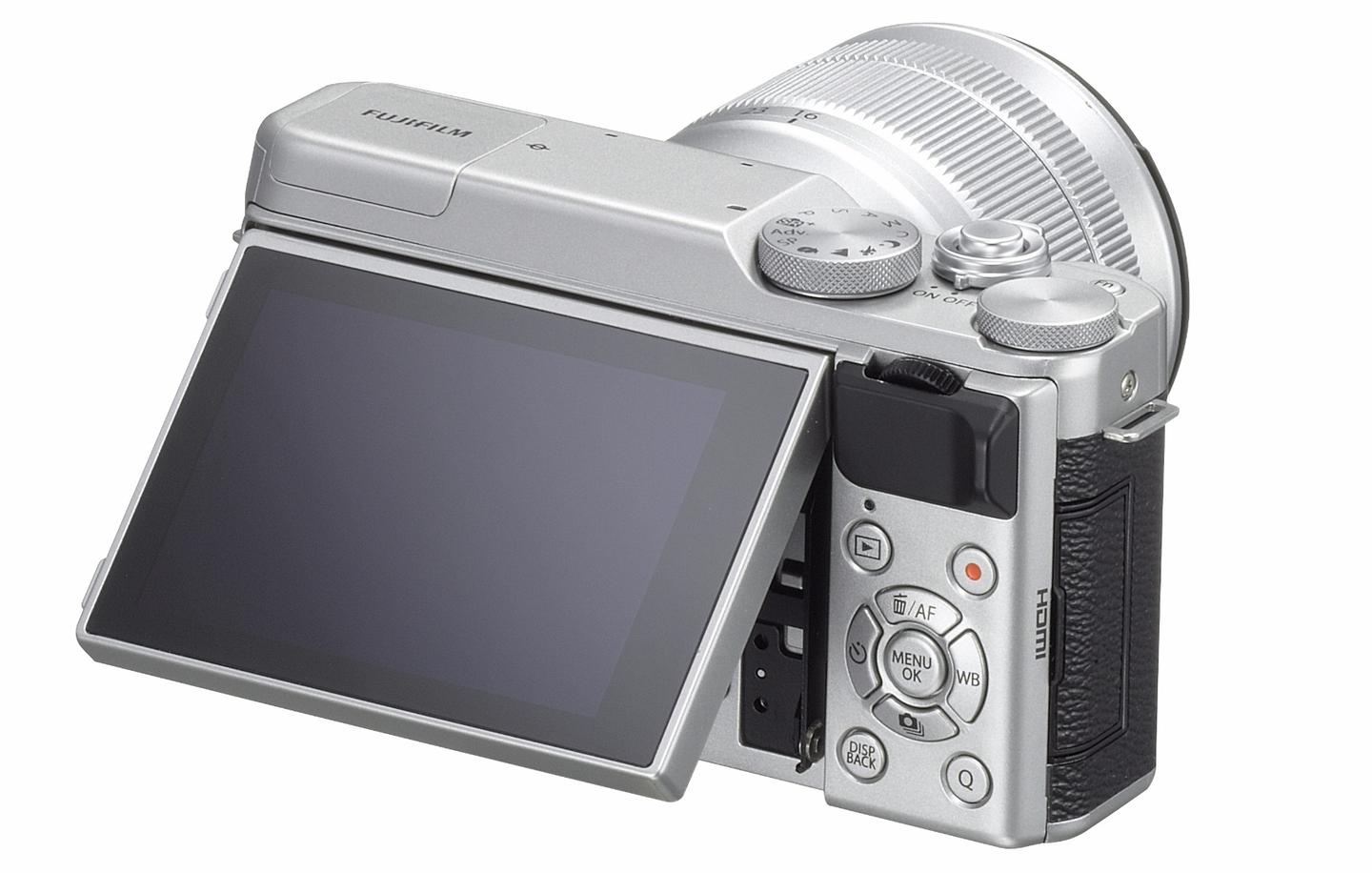 The rear monitor on the Fujifilm X-A10 can be angled for shooting in otherwise awkward positions
