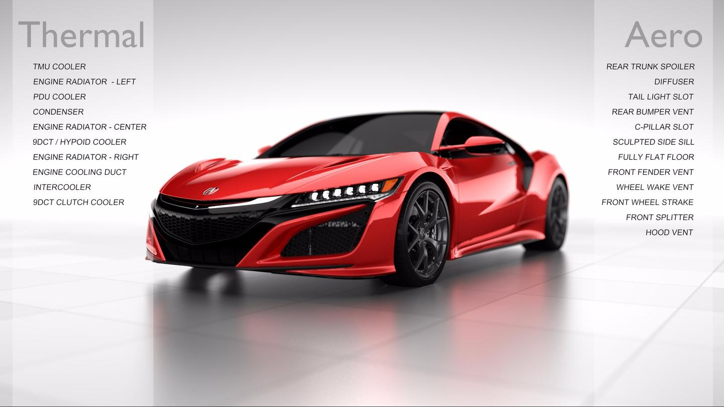Keeping the NSX cool is the work of a complex set of radiators and heat exchangers