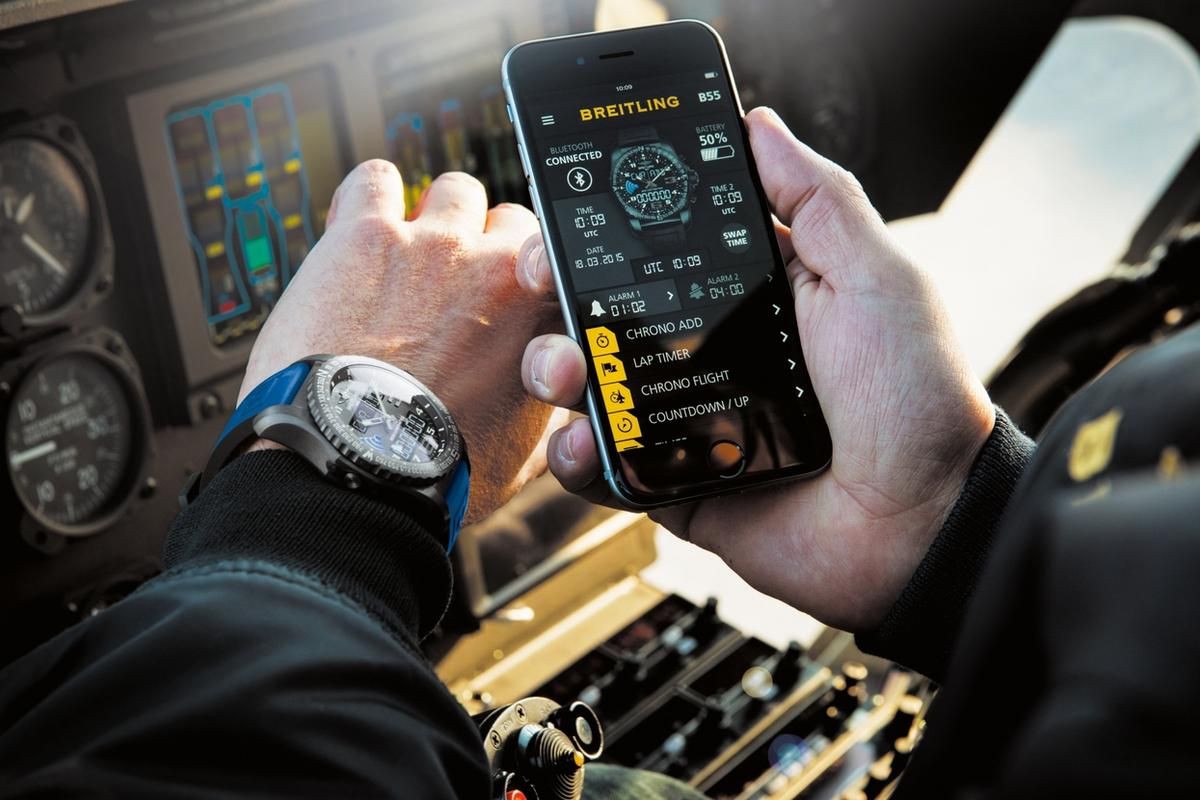The Breitling B55 Connected can be controlled by a companion smartphone app