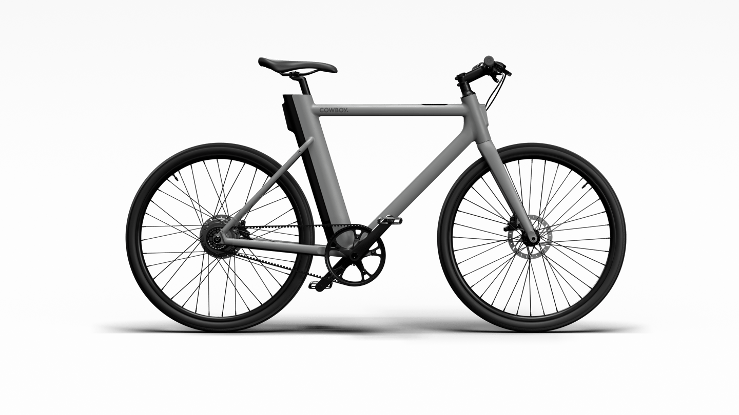 The Cowboy 3 ebike comes in three colors, features a Gates carbon belt drive and rides on puncture-resistant tires