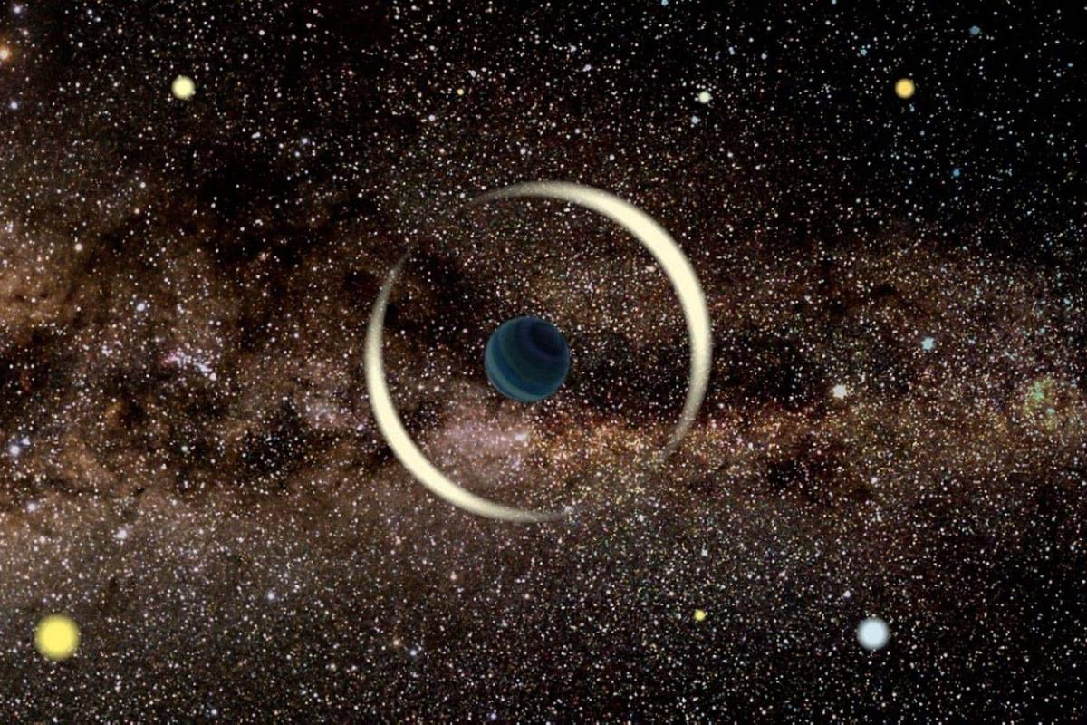 A simulated image of how microlensing works, where the gravity of a foreground planet distorts the light from a background star