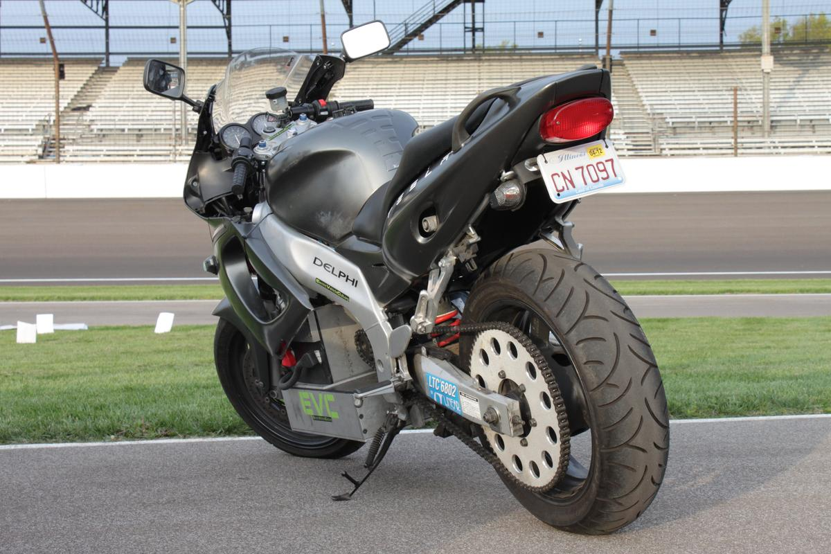 Two Purdue University engineering students have converted a gas-powered Yamaha YZF600r into an electric motorbike capable of speeds of more than 120 mph and with a range in excess of 120 miles