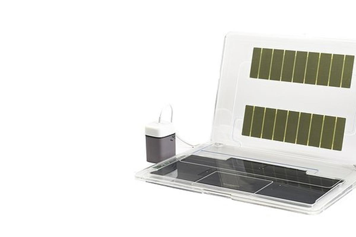 A mock up of a device with an embedded fuel cell