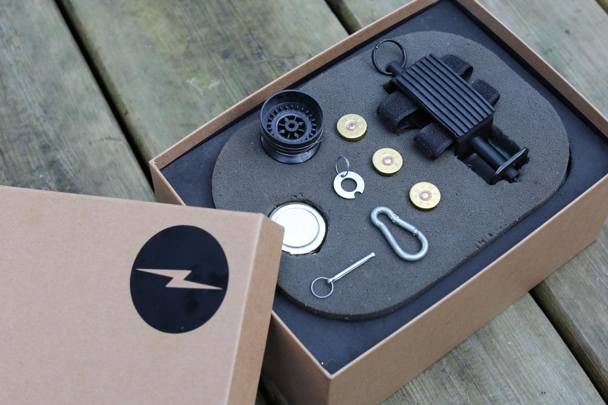 The basic Bike Mine kit comes with three saluting blanks and the hardware to set things up