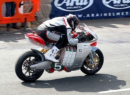 Californian Mark Miller gets away from the start on the MotoCzysz