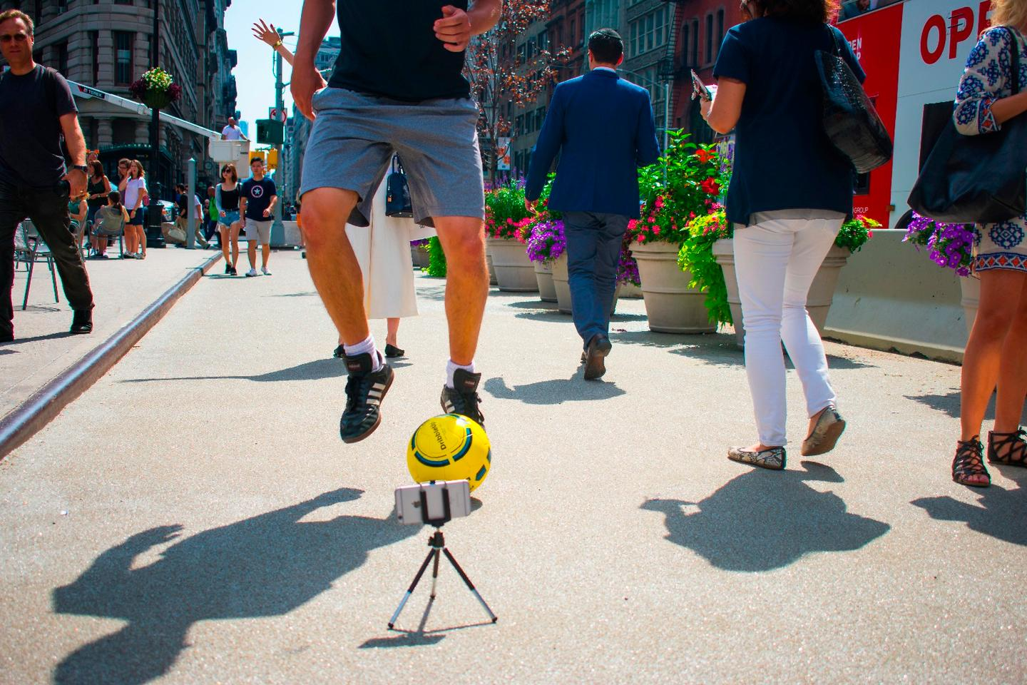 The DribbleUp Smart Soccer Ball is optically tracked by the user's smartphone