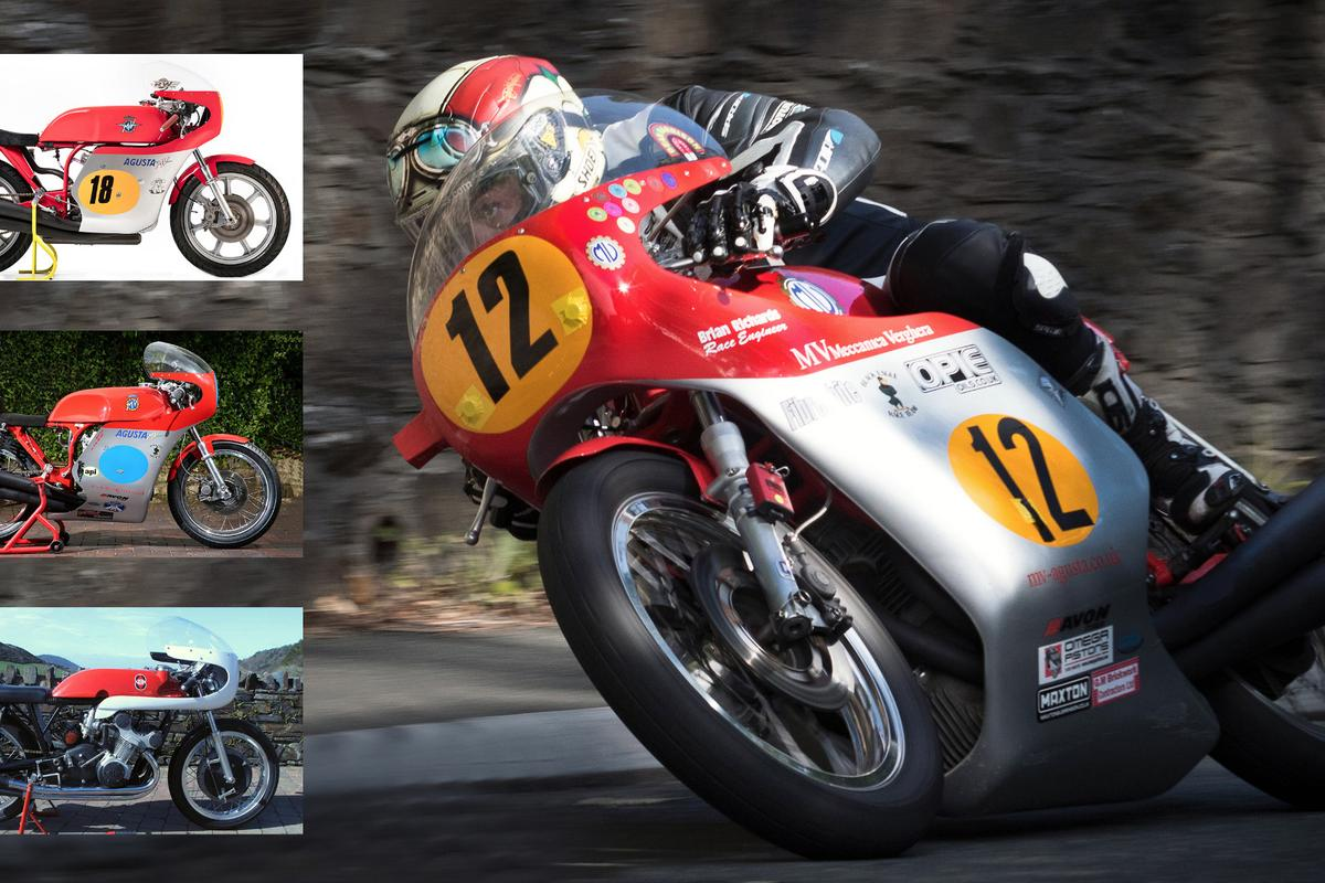 Main picture: Dean Harrison on the MV Meccanica Vergerha 1972 three-cylinder MV Agusta 500cc at the Railway (I.O.M.) by Peter Faragher. Insets from top: MV Meccanica Vergerha 1974 four-cylinder MV Agusta 500cc, MV Meccanica Vergerha 1968/69 three-cylinder MV Agusta 350cc, MV Meccanica Vergerha 1957 four-cylinder Gilera 500cc. In case you're wondering why only four pics, there are two 350/3s for sale