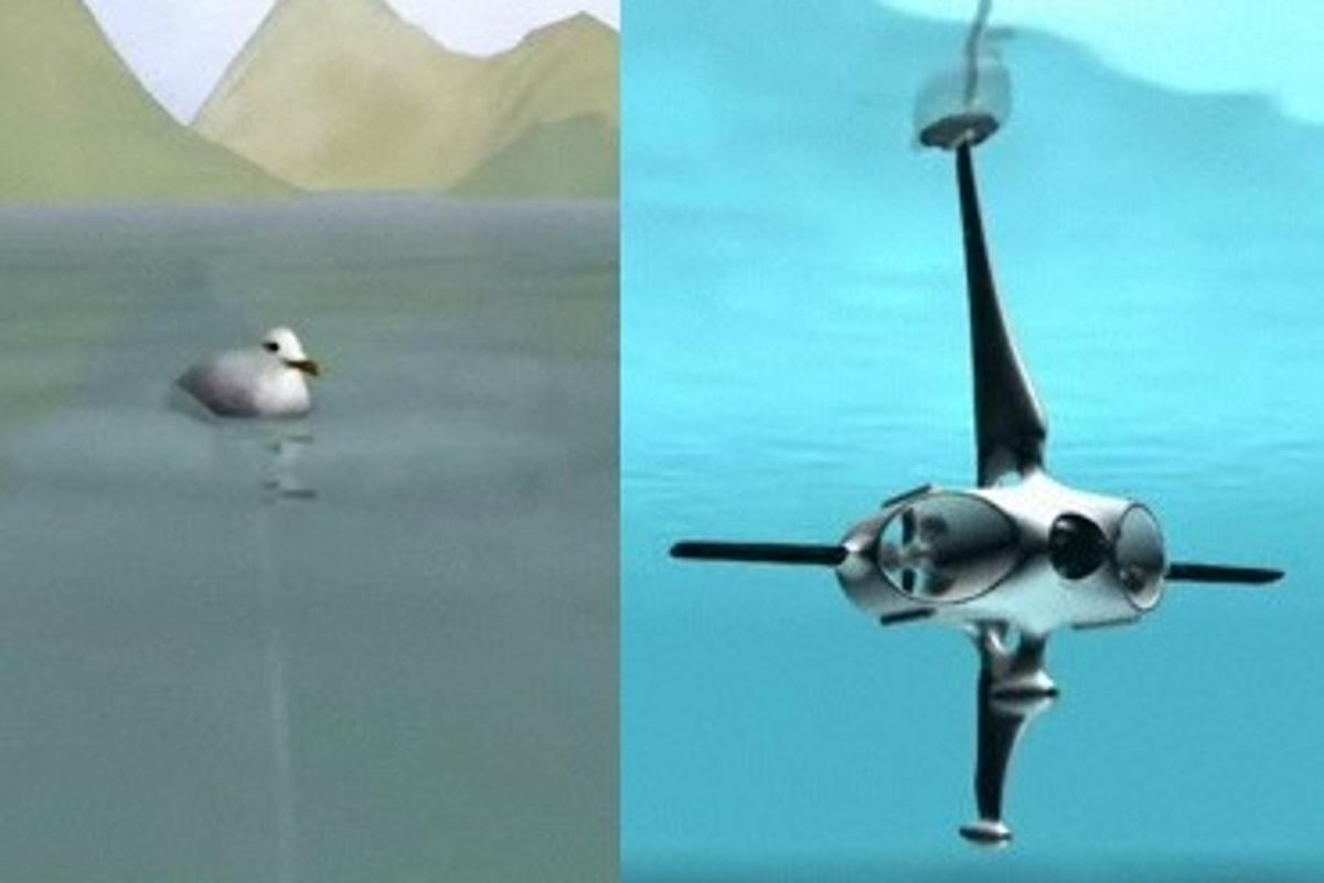 Macroswiss's Hydrobot mimics a seagull floating on the water.