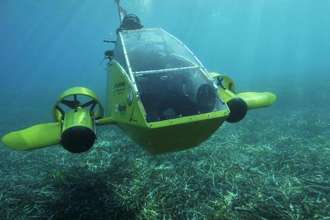 The Scubster Nemo can reach a top speed of 8 km/h and it's batteries are reported good for 2 hours between charges