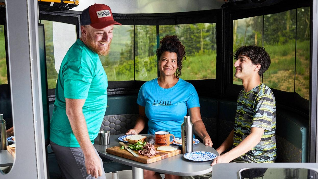The Airstream 20 series has two seating/dining areas