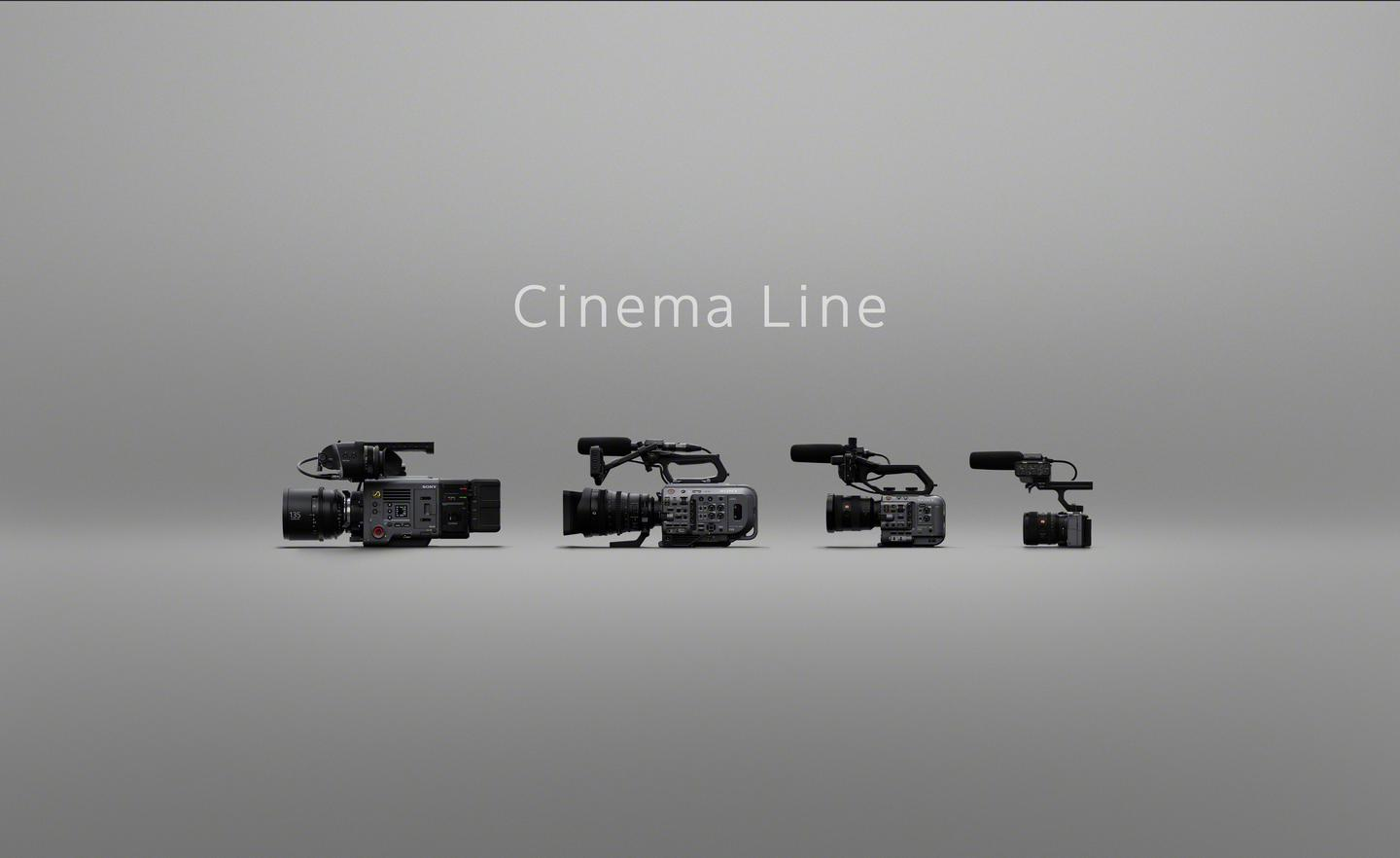The FX3 (far right) is the entry level member of Sony's Cinema Line of movie-making cameras
