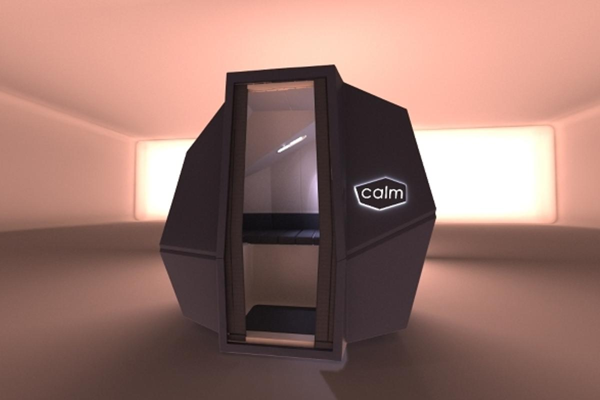 CalmSpace is a self-contained sleep capsule designed for offices, providing workers with a place to power nap for up to 20 minutes at a time