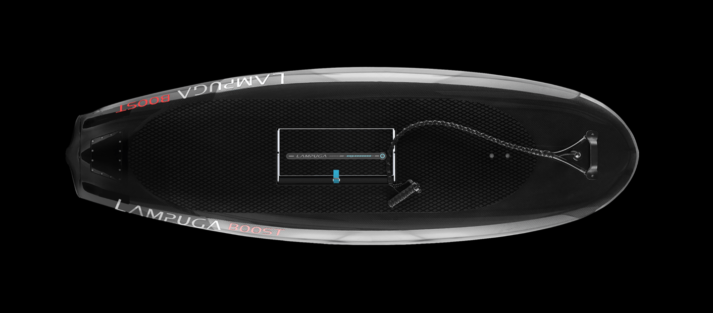 Lampuga's carbon fiber Boost surfboard now boasts a top speed of 36 mph (58 km/h) with power coming from a 10-kW electric motor
