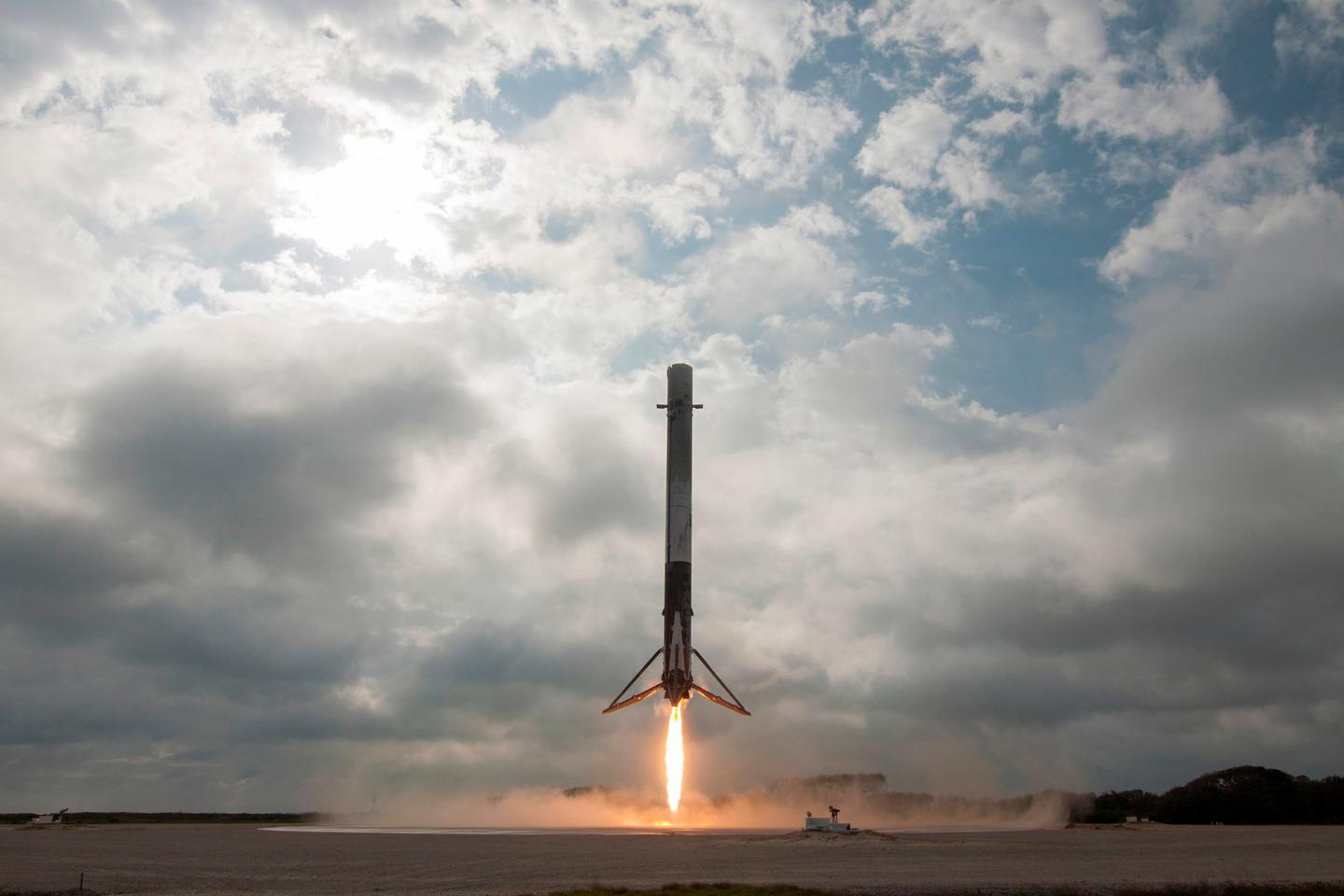 The Falcon 9 first stage touches down at Cape Canaveral