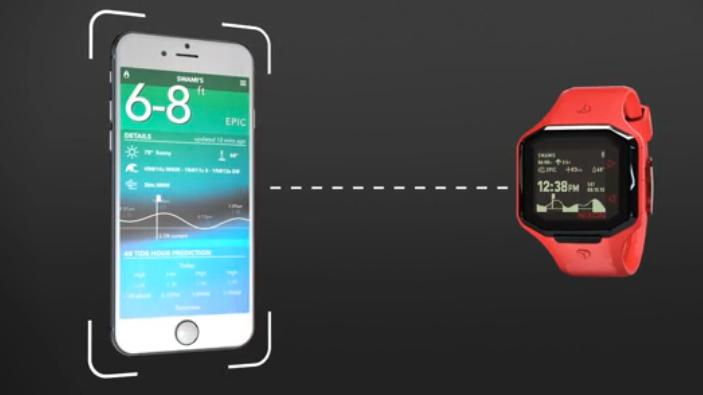 The Ultratide works with the Surfline app on the user's smartphone