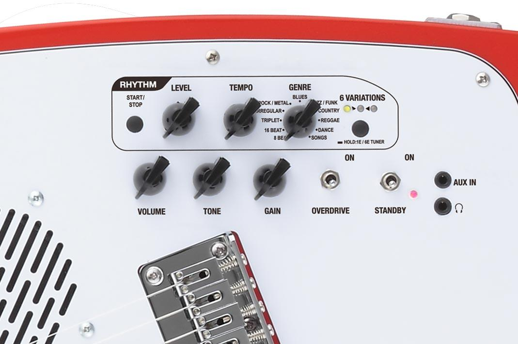 Chicken-head control knobs dial in volume and tone, as well as onboard effects and rhythm patterns