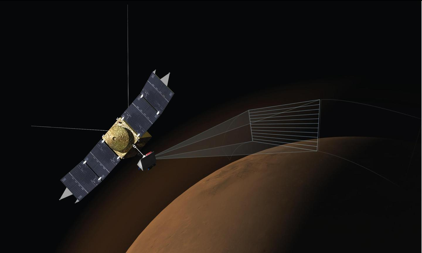 Artist's impression of the Imaging UltraViolet Spectrograph (IUVS) on NASA's MAVEN spacecraft scanning the upper atmosphere of Mars (Image: NASA/Univ. of Colorado)