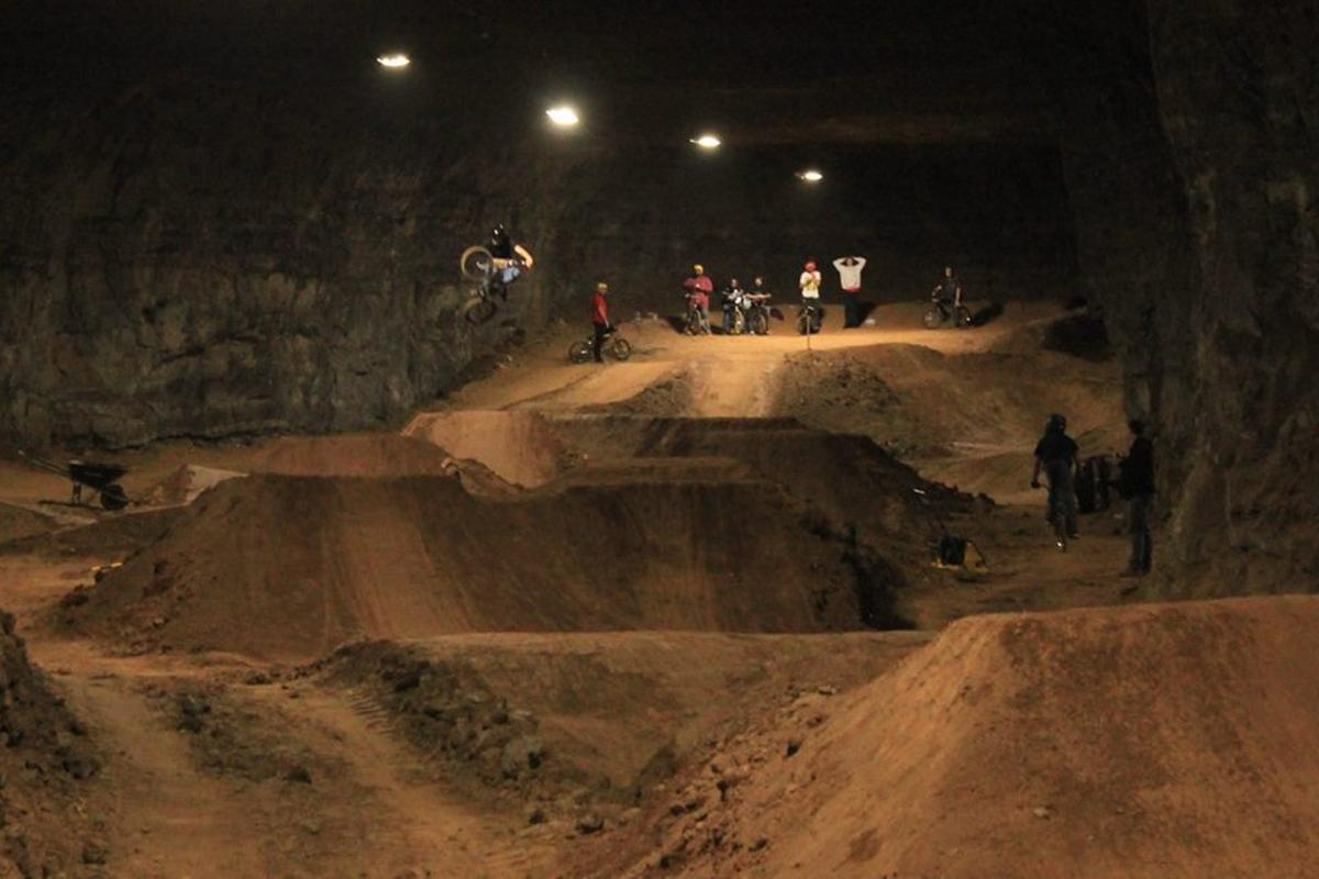 The bike park is located in an old limestone mine