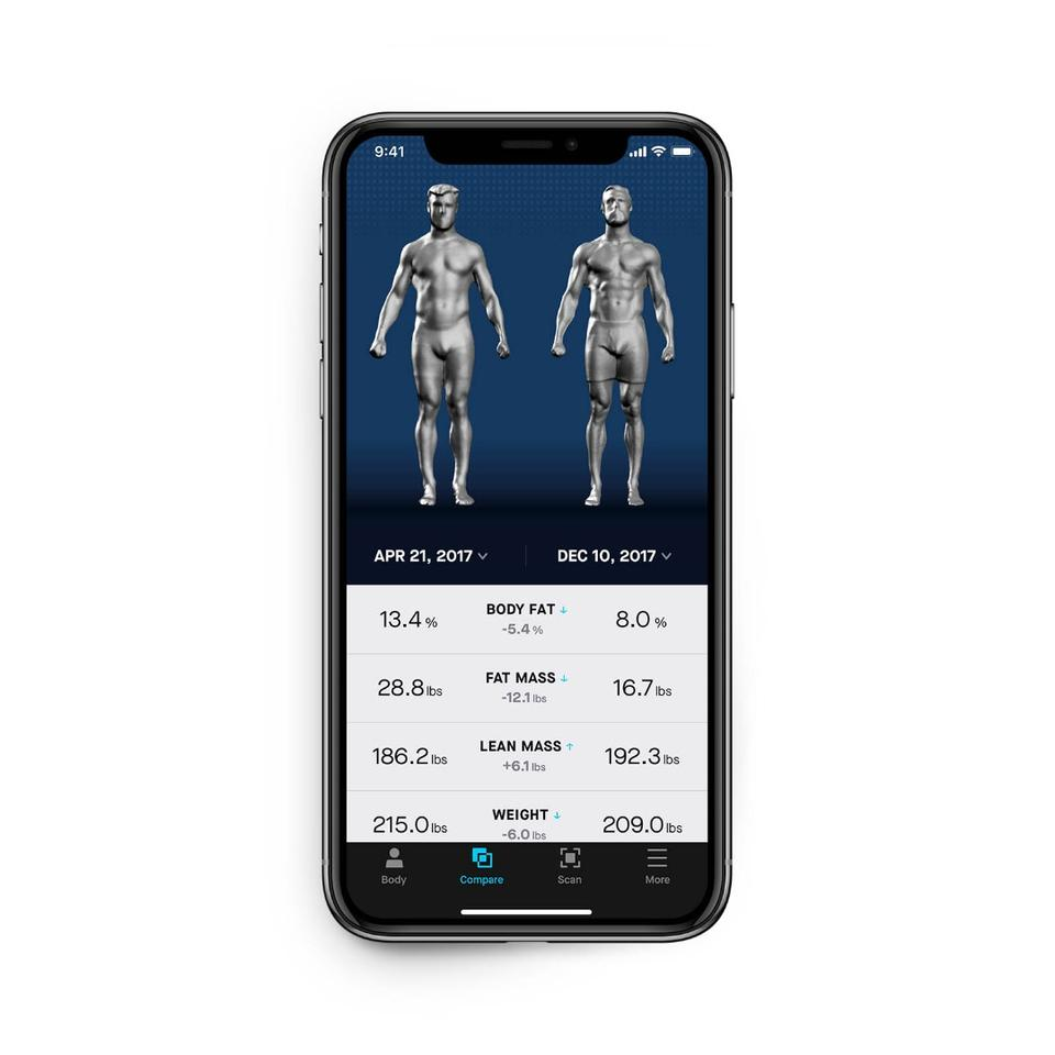 The Naked app: comparison screen shows your progress, which tells a story your weight figure can't by itself