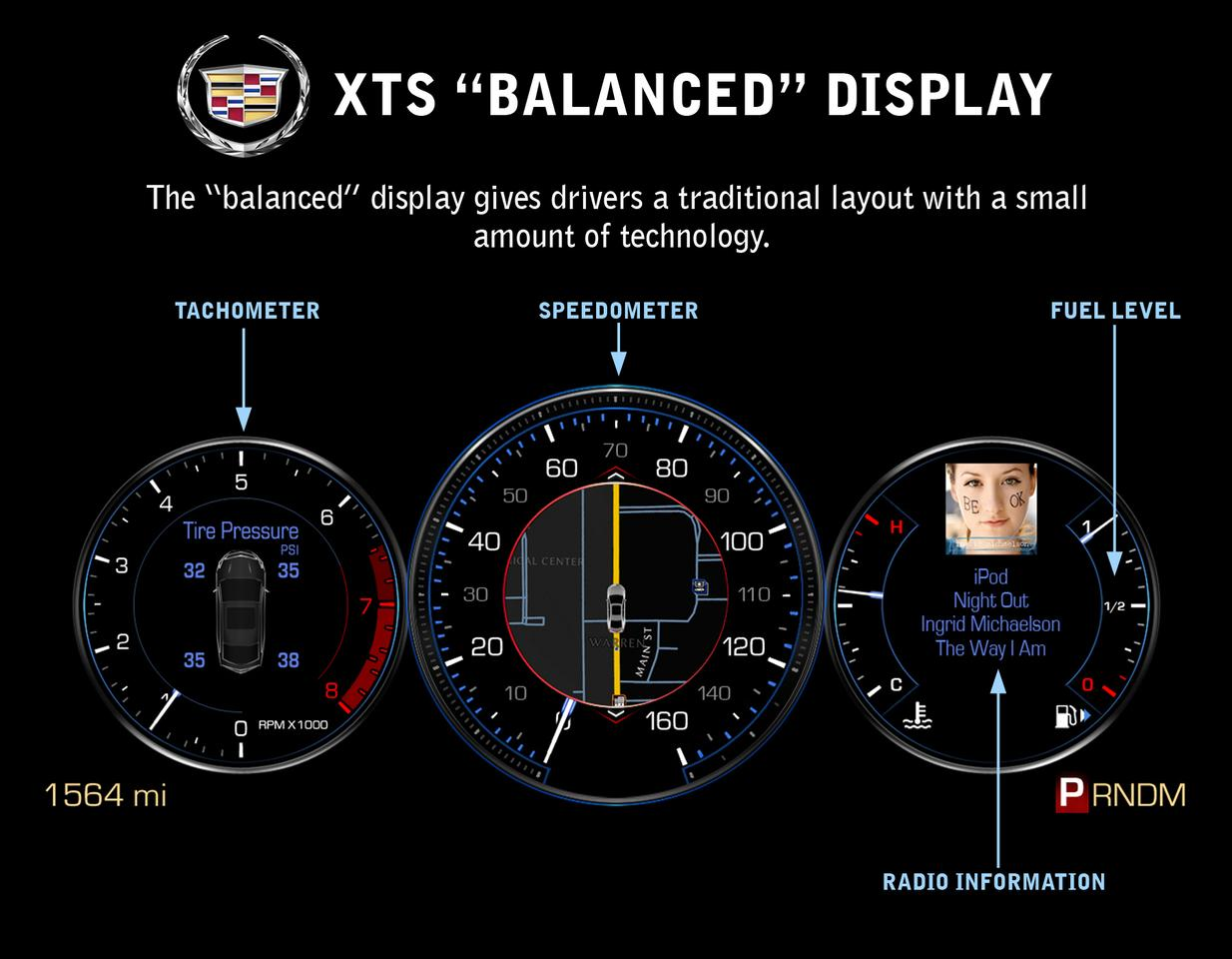 Cadillac XTS gets customizable gauge cluster