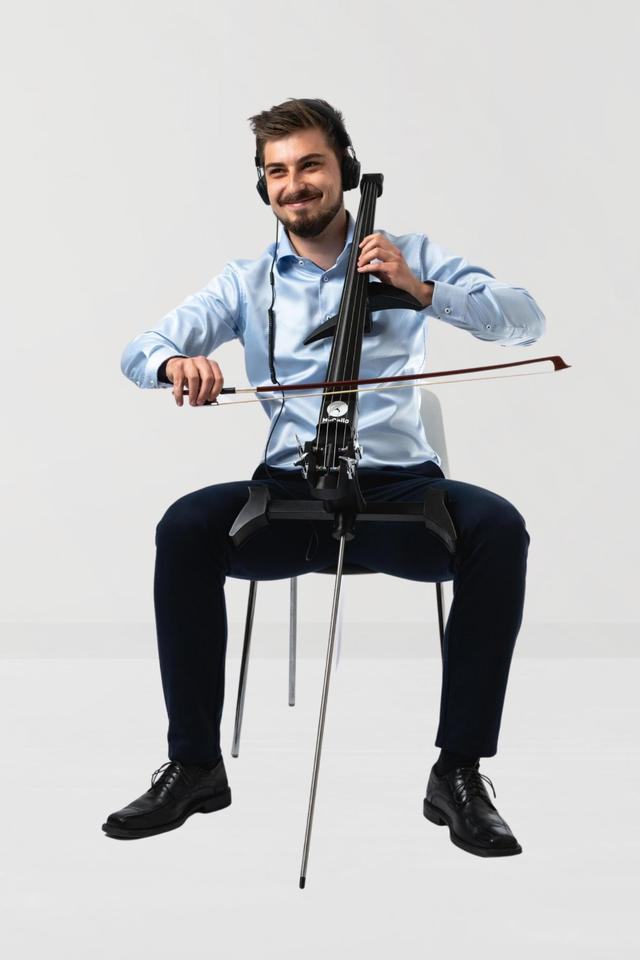 The MyCello can be played acoustically, output to an amp/speaker or through headphones