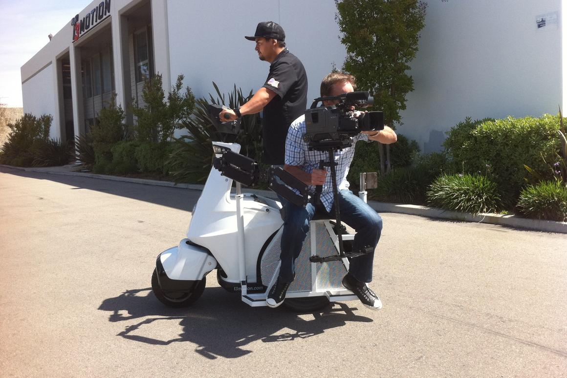 T3 Motion's new T3-MT electric standup vehicle is designed to accommodate camera operators using Steadicam or Glidecam systems
