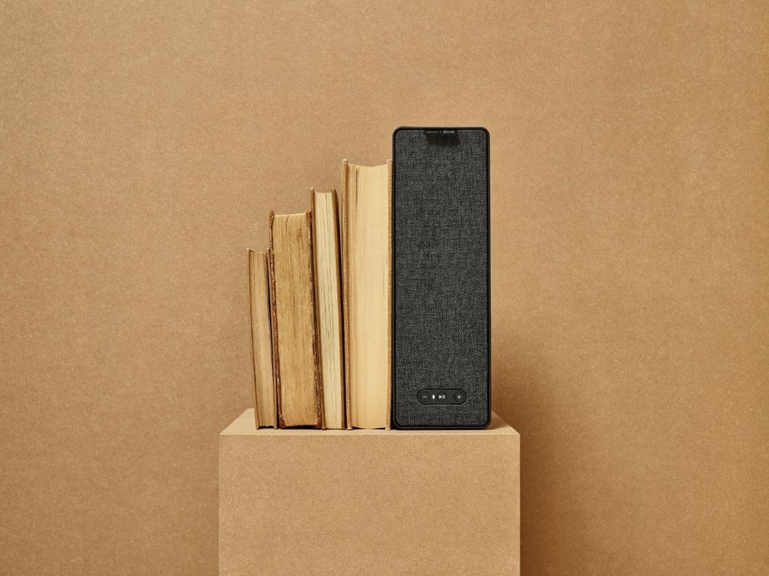 The Symfonisk bookshelf speaker can act as a book-end or as an actually bookshelf