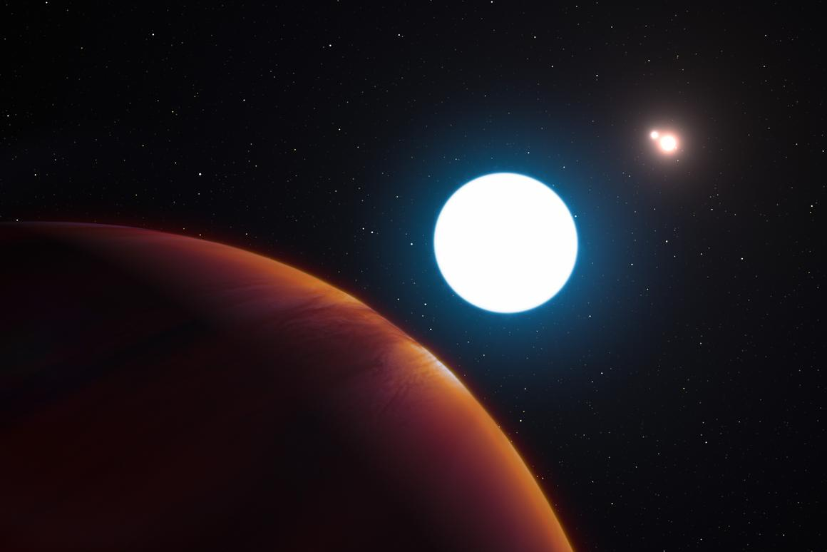 Artist's impression of the exoplanet HD 131399Ab orbiting within the triple star system