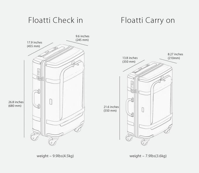 Floatti is available in two different sizes, one for carry on and the other for checking in your luggage