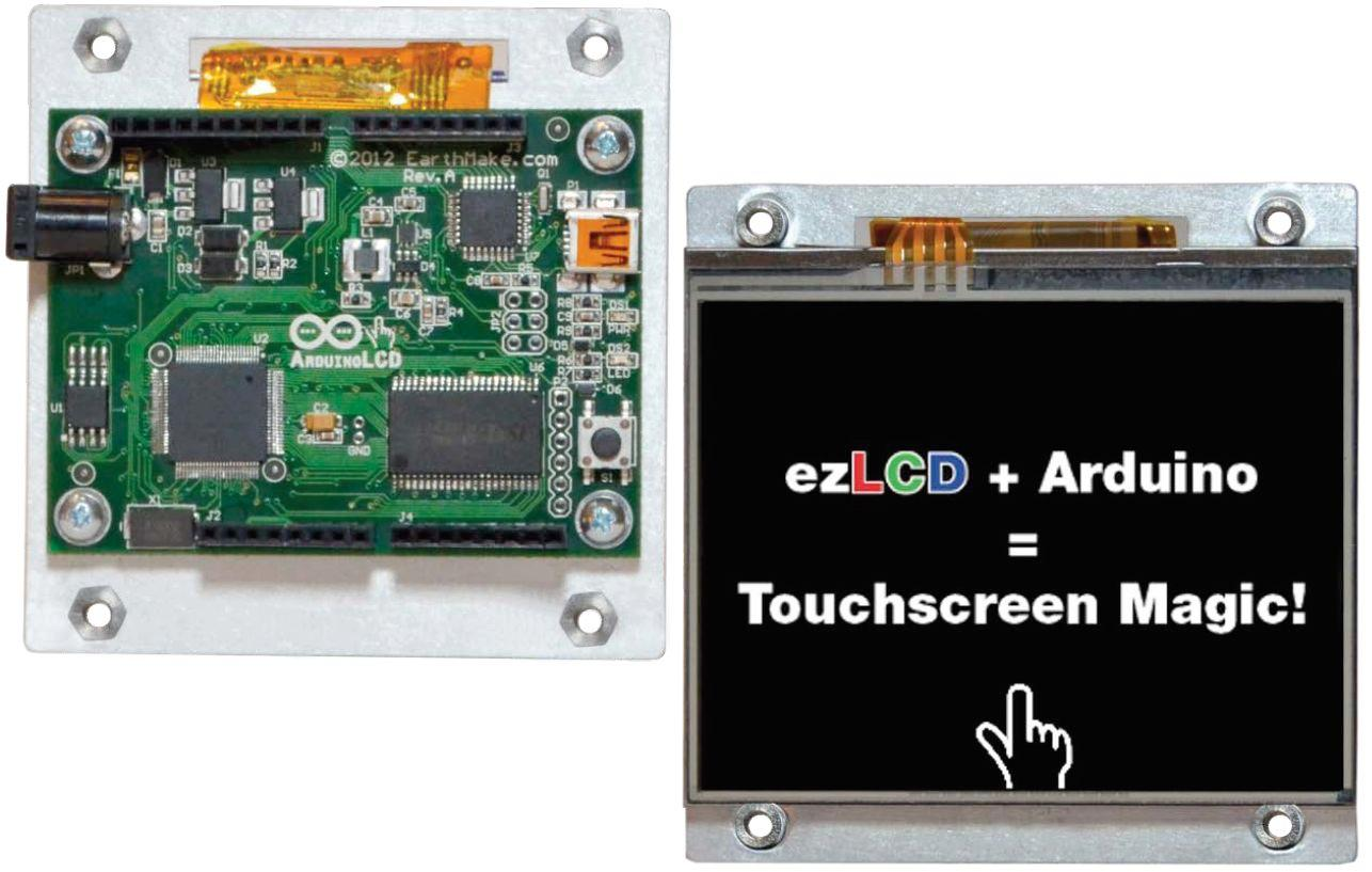 The ArduinoLCD is a touchscreen designed for use with the Arduino microcomputer