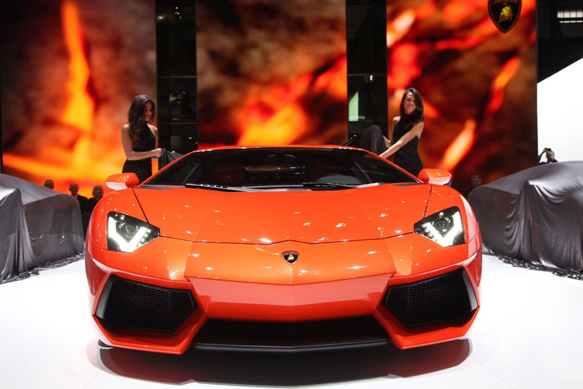 Lamborghini's new Aventador on stage at the Geneva Motor Show