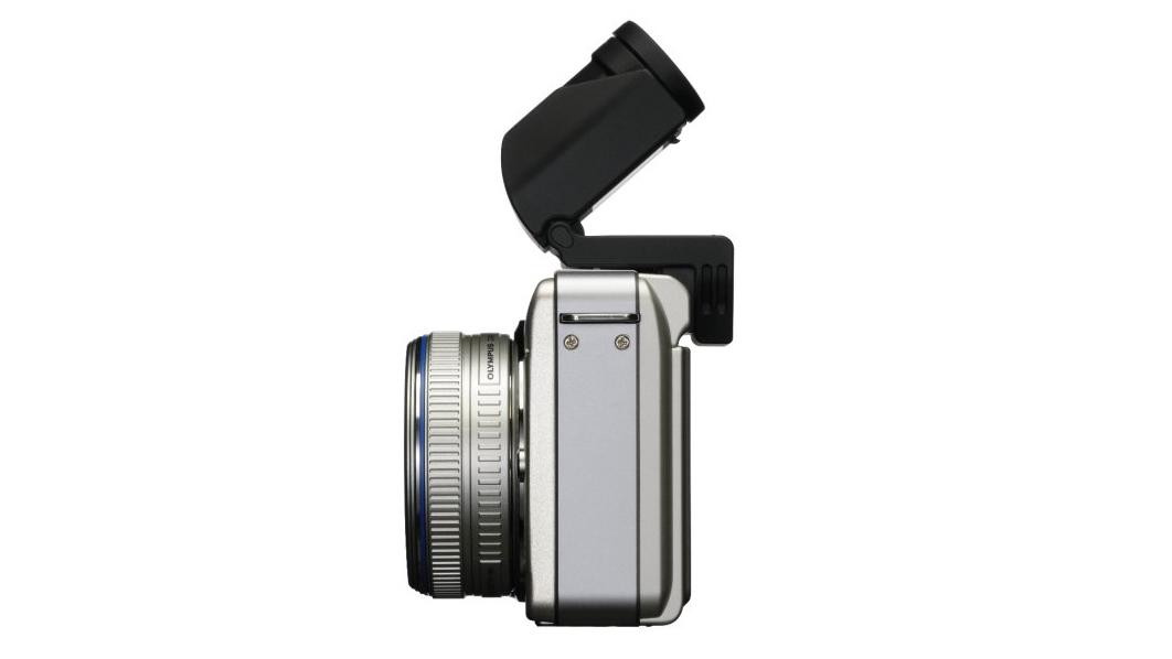 The Olympus E-PL1 can accept the optional VF-2 viewfinder