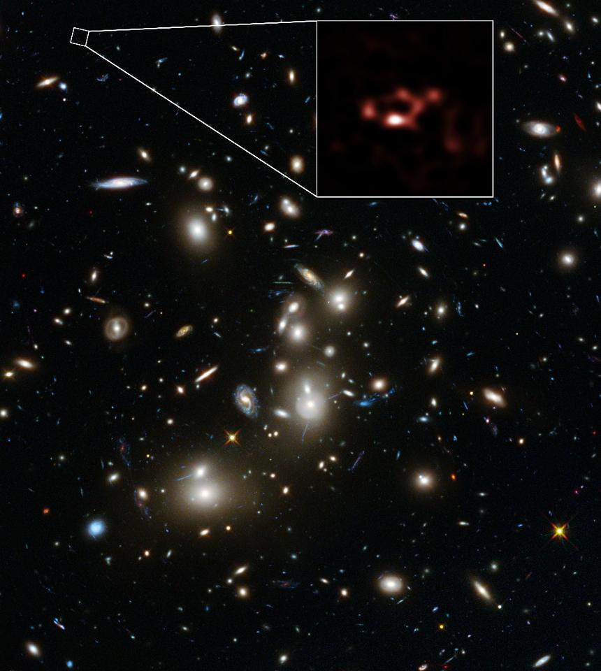 A Hubble/ALMA view of the Galaxy Cluster Abell 2744, with the distant galaxy A2744_YD4 blown up in the box