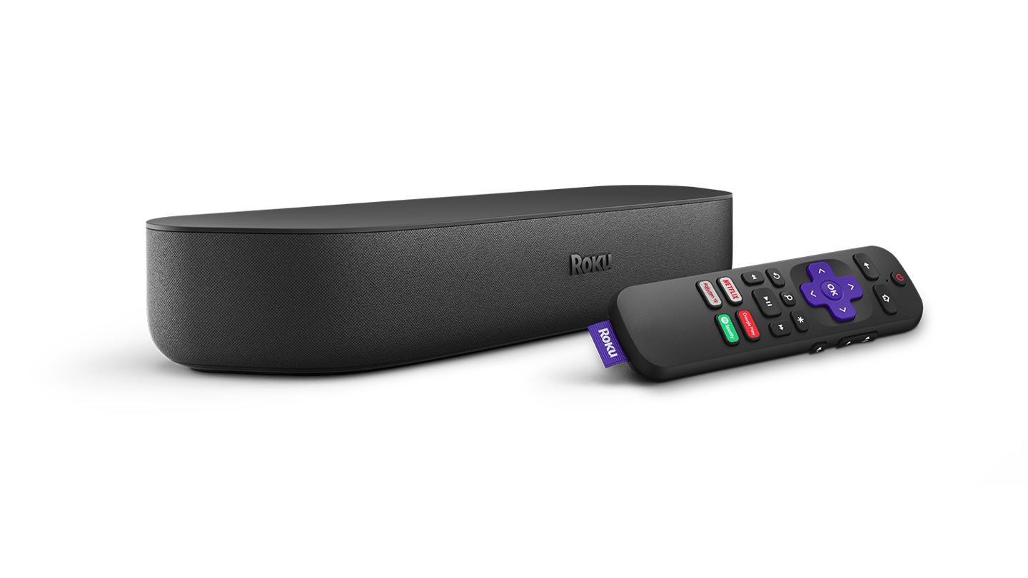 The Streambar comes with a remote that's compatible with Alexa and Google digital assistants