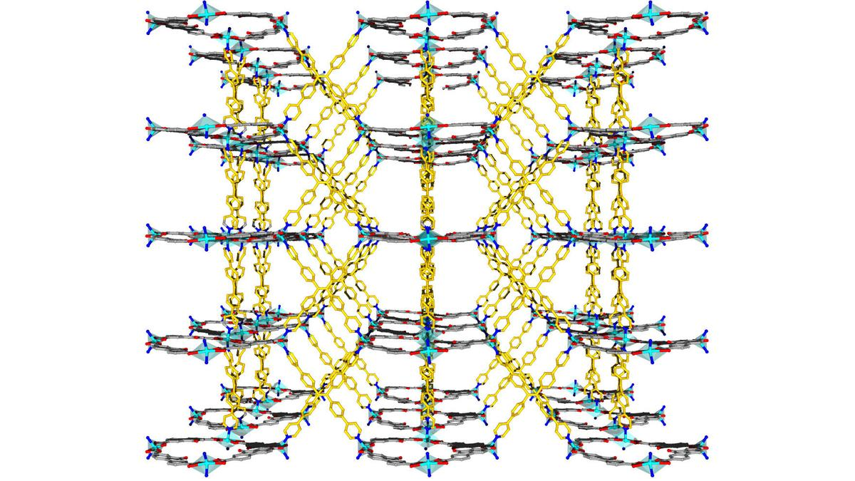 A viewof the crystal structure of an organic framework that traps heavy metals