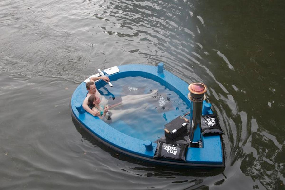The HotTug is a small motor boat that doubles as a hot tub