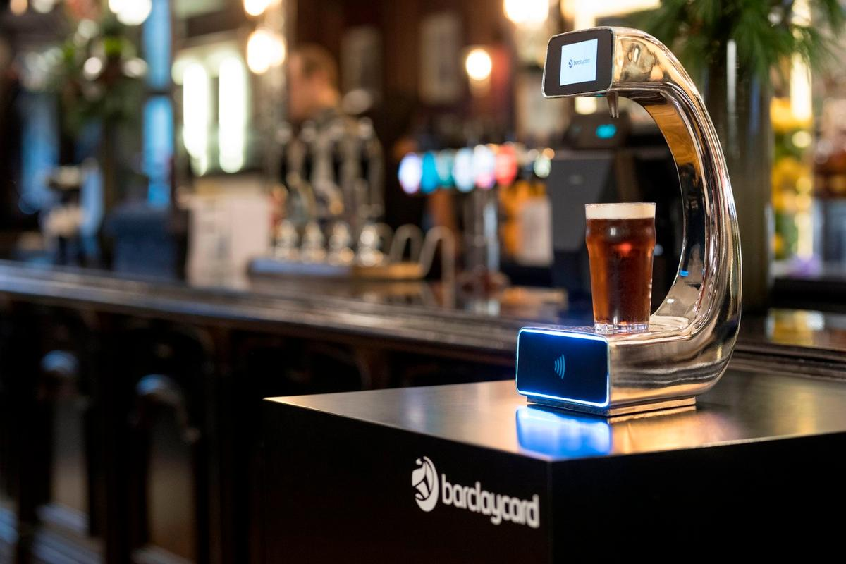 The Pay @ Pump prototype contactless beer pump has a touchscreen on which drinks are ordered