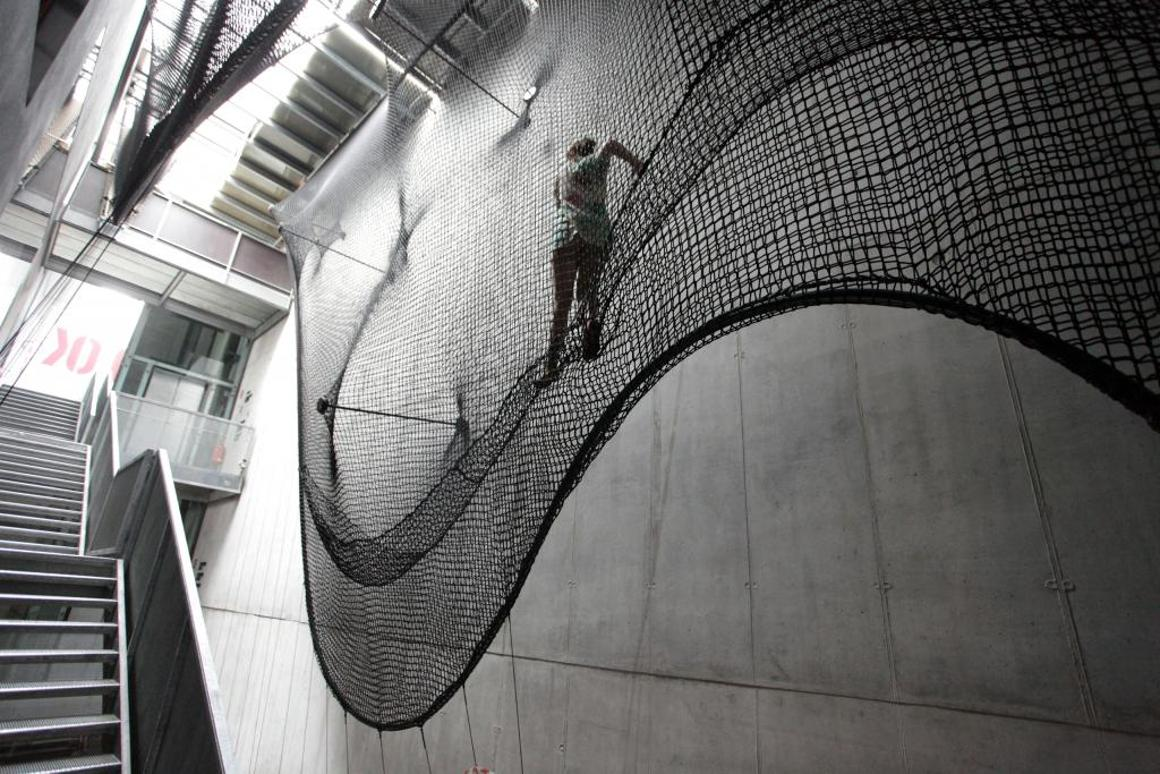 Net Linz is a rope-based installation at the OK Center for Contemporary Art, that people can climb as a means of moving between floors